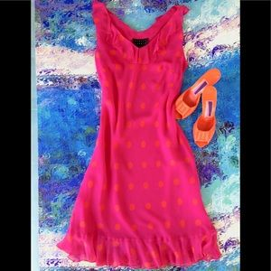 NWOT FINITY STUDIO Hot Pink/Orange Silk Sheath